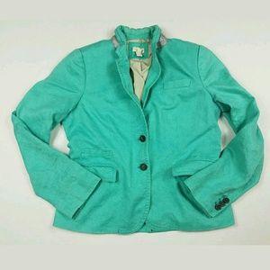 J.Crew Teal Linen Blazer Size 12